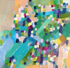 Abstract acrylic painting on birch wood panel.  Jenny Vorwaller