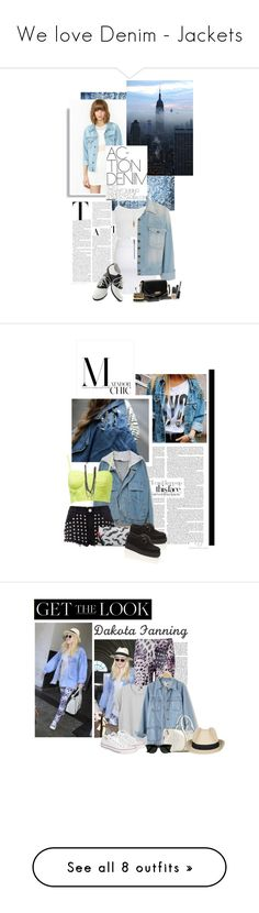 """""""We love Denim - Jackets"""" by mybelljar ❤ liked on Polyvore featuring Bardot, Topshop, Current/Elliott, Pinup Couture, Burberry, Raxevsky, Free People, mini skirts, oversized denim jackets and oxford shoes"""