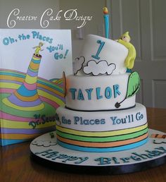"Dr. Seuss Birthday Cake - Oh the places you'll go Graduation cake idea to go with ""Oh the Places You'll Go"" book signed each year by child's teachers, coaches & principle."