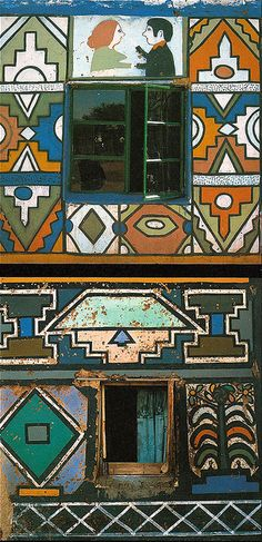 l'afrique: The taste of Petrol and Porcelain | Interior design, Vintage Sets and Unique Pieces www.petrolandporcelain.com architecture : façade de maison Ndebele, Afrique du sud