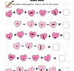 Cute heart music math worksheet from Fun and Learn Music! Great for Valentine's day piano lessons or music classes! Music Lessons For Kids, Music Lesson Plans, Music For Kids, Piano Lessons, Music Math, Music Classroom, Music Music, Valentine Music, Valentines