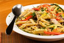 Low-fat-Chicken-Penne-Marengo-Recipe #pasta dishes low calorie #diet pasta dishes #healthy pasta dishes