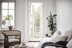 Balcony leading off the sitting room in a serene small space apartment in Sweden. Ahre.