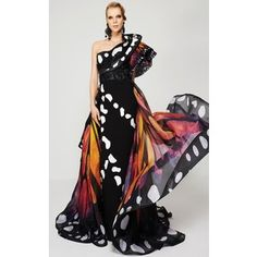 MNM Couture 2381 Red Carpet Dress Long Asymmetrical Short Sleeve, $1,100