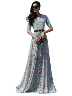 Stylish Floral O-neck Tight Waist Maxi Lace Dress