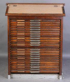 vintage printers cabinet