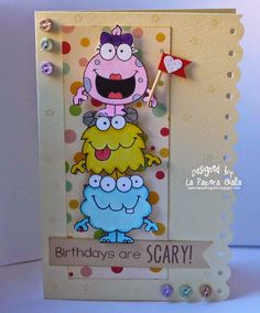 Your Next Stamp: Silly Monsters 2 - La Papera Gialla: Birthdays Are Scary!  #yournextstamp