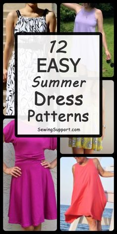 A dozen free and easy women's dress patterns, tutorials, and diy sewing projects. Short-sleeve and sleeveless styles great for summer. Simple Dress Pattern, Summer Dress Patterns, Dress Sewing Patterns, Sewing Patterns Free, Clothing Patterns, Pattern Dress, Sewing Hacks, Sewing Tutorials, Sewing Tips