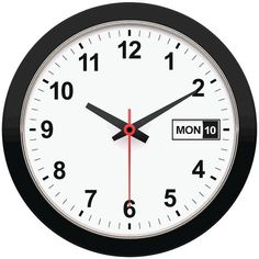 "12"" Day & Date Wall Clock - TIMEKEEPER - 5013"