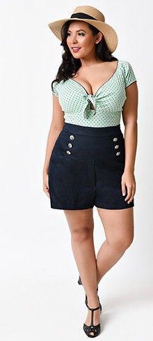 Plus Size Retro Style Indigo Blue High Waisted Stretch Sailor Shorts