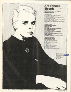 """""""Are Friends Electric"""" by Tubeway Army on Beggars Banquet Records (Smash Hits) New Wave Music, The New Wave, Pop Music, Beggars Banquet, Gary Numan, One Step Beyond, Light Of My Life, Types Of Music, Greatest Songs"""
