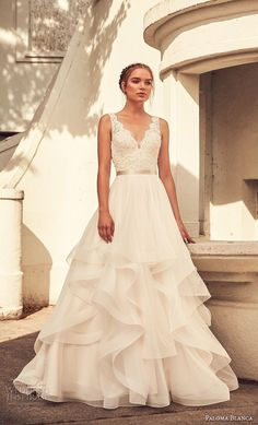 paloma blanca spring 2018 bridal sleeveless with strap scallop v neck heavily em. - paloma blanca spring 2018 bridal sleeveless with strap scallop v neck heavily embellished bodice la - Wedding Dresses With Straps, Perfect Wedding Dress, Best Wedding Dresses, Wedding Styles, V Neck Wedding Dress, Wedding Themes, Wedding Dress Long Train, A Line Wedding Dress With Sleeves, Wedding Ideas 2018