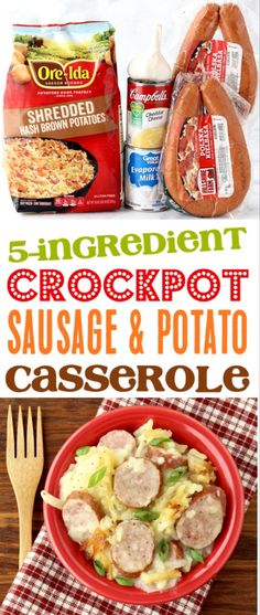 Crockpot Sausage and Potatoes Recipe! {Slow Cooker Casserole} < Crockpot Sausage and Potatoes Recipe! {Slow Cooker Casserole},food Crockpot Sausage and Potatoes Recipe with Cheese! This easy Slow Cooker Kielbasa Casserole is so delicious and. Crockpot Sausage And Potatoes, Sausage Potato Casserole, Crockpot Dishes, Crock Pot Cooking, Sausage Crockpot Recipes, Chicken Recipes, Breakfast Casserole, Recipes With Kielbasa, Easy Crockpot Meals