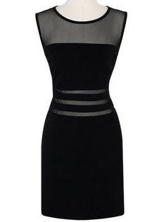 Black Sleeveless Contrast Mesh Yoke Bodycon Dress - Sheinside.com