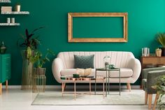 Metal, round coffee tables and a beige sofa in a green, luxurious living room interior with marble shelves and golden decorations , Teal Living Rooms, Living Room Green, Living Room Paint, Living Room Interior, Home Interior Design, Living Room Designs, Interior Paint, Muebles Art Deco, Beige Sofa