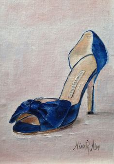 Blue Satin Clausado bow shoes Manolo Blahnik by NinaRAideStudio                                                       Blue Satin Clausado Bow shoes Manolo Blahnik. Original Oil painting by Nina R.Aide Studio. Linen 7x5  Available for sale on Etsy still life#fashion art#original painting#shoes