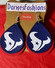 Texans earrings   Etsy Cute Earrings, Star Earrings, Earrings Photo, Texas Star, Texans, Leather Earrings, Crochet Earrings, Cricut, Diy