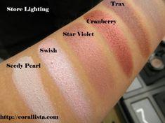 MAC eyeshadow swatches - Seedy Pearl, Swish, Star Violet, Cranberry, Trax