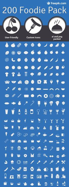 200 Foodie Pack: A Free Set Of Food Icons. The 200 Foodie Pack includes 200 customized icons available in PNGs as well as in AI, EPS and vector format. Web Design, Tool Design, Vector Design, Vector Icons, Vector Free, Eps Vector, Design Digital, Food Icons, Custom Icons