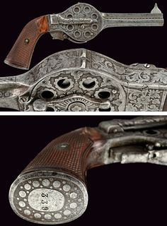 A rare twelve shots Noel & Guery system pistol, provenance: France dating: third quarter of the 19th Century.