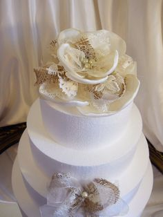 Burlap & Lace Cake Topper Flower with Bow handmade by PapernLace, $35.00