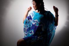 Blue chiffon dress hand painted batik Chiffon by BorneoBatikraft