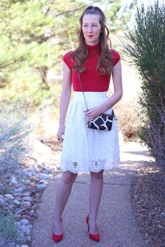 valentine's day outfits outfit ideas red and white lace midi skirt