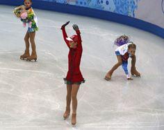 Lipnitskaya of Russia finishes team ladies' free skating at the Sochi 2014 Winter Olympics