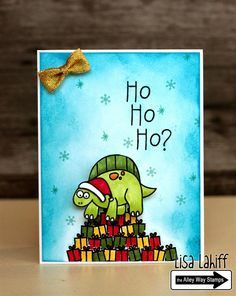 Lisa's Creative Niche: Ho, Ho, Ho? Alley Way Stamps, TAWS, cards, clear stamps, Tag-a-longs, Fa-la-la, Gabfest, Lava You, Christmas Card, Distress ink