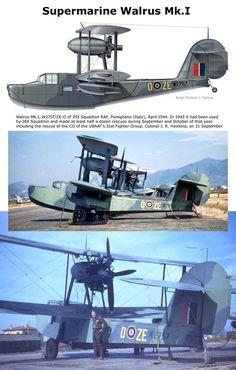 Walrus Mk.I Royal Canadian Navy, Royal Navy, Ww2 Aircraft, Military Aircraft, Old Planes, Flying Boat, Aeroplanes, Train Car, Royal Air Force