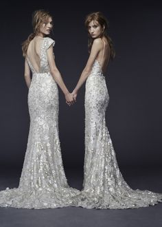 Diamonds in the sky! These two wedding dresses are so shiny! It's the summer collection by Vera Wang