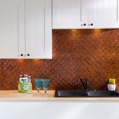 Fasade 24 in. x 18 in. Quilted PVC Decorative Backsplash Panel in Moonstone Copper