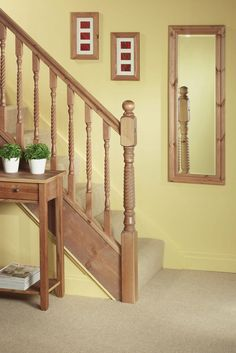 Staircase With Pine Barley Twist Newel Post And Spindle Ball Cap Standard Handrail