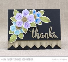 Handmade card from Barbara Anders featuring Thanks & Hello Die-namics #mftstamps