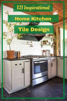 121 Inspirational Home Kitchen Tile Design Ideas in 2017 #kitchentiledesignideas Kitchen Tiles Design, Tile Design, Kitchen Cabinets, Kitchen Appliances, Home Kitchens, Design Ideas, Inspirational, Interior, Home Decor