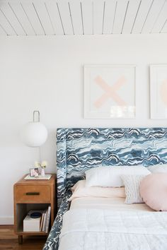 Feminine bedroom with whitewashed wood ceilings, embroidered art, a custom marble fabric headboard, and a vintage nightstand Interior Design Inspiration, Home Decor Inspiration, Interior Ideas, Design Ideas, Master Bedroom, Bedroom Decor, Bedroom Inspo, My New Room, Decoration
