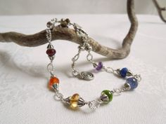 Rainbow Gemstone Bracelet Seven Gemstones Hill Tribe by seemomster,