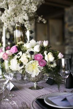 french spring wedding flower arrangement by Whidbey Island florist Vases Wild in mercury glass vase with anenome, peony, ranunculus