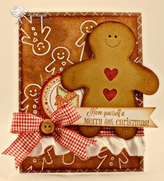 Christmas card...adorable die cut gingerbread man with cut out hearts...gingham ribbon adds to the homemade feel...