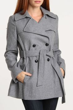 Belted Wool Trench In Pale Gray.