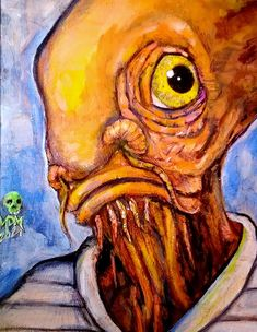 Here is a doodle of Admiral Ackbar on 8 x 10 canvas board. It's because of this piece that a few other canvases that I started had a heavy orange influence. Admiral Ackbar, Canvas Board, Canvases, Muse, Doodles, Orange, Animals, Animales, Animaux