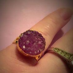(D1) Purple Druzy Ring
