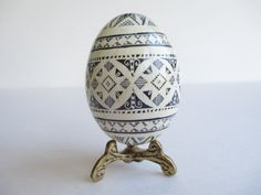 sale grey and white Pysanka Ukrainian by UkrainianEasterEggs