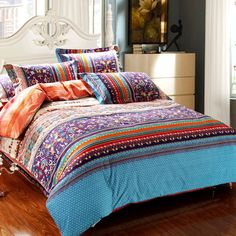 Aqua Blue Orange and Brown Colorful Baroque Stripe Tribal Print Southwestern Style 100% Brushed Cotton Full, Queen Size Bedding Sets
