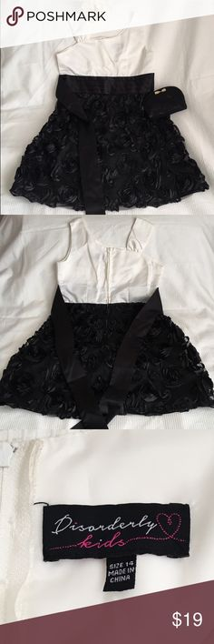 Black and White Rose Dress NWOT black and white rose dress. Their is a rose patten in the front and back of the dress without any stains and a zippered opening. Disorderly Kids  Dresses Formal