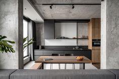 Apartment Layout, Apartment Interior Design, Apartment Kitchen, Design Thinking, Furniture Sets, Furniture Design, Best Kitchen Design, Concrete Interiors, Monochrome Interior