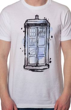 Watercolor Tardis Shirt made by Ripple Junction in collections: TV Shows: Doctor Who, & Department: Adult Mens, & Color: White