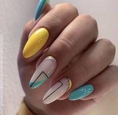 Summer Acrylic Nails, Best Acrylic Nails, Pastel Nails, Yellow Nails, Cute Summer Nail Designs, Cute Summer Nails, Crazy Nail Designs, Nail Summer, Colorful Nail Designs