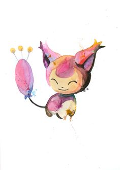 Hey, I found this really awesome Etsy listing at https://www.etsy.com/listing/182199193/skitty-300-original-watercolor-a4