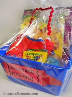 Little Artist Basket (Cheap Crafty Mama) -Leslie & Luke (Sara & Emma) Homemade Christmas Gifts, Homemade Gifts, Holiday Gifts, Kids Gift Baskets, Raffle Baskets, Candy Baskets, Toddler Gifts, Gifts For Kids, Craft Gifts